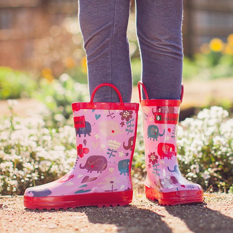 【美國OAKI】兒童提把雨鞋 11533 粉紅象