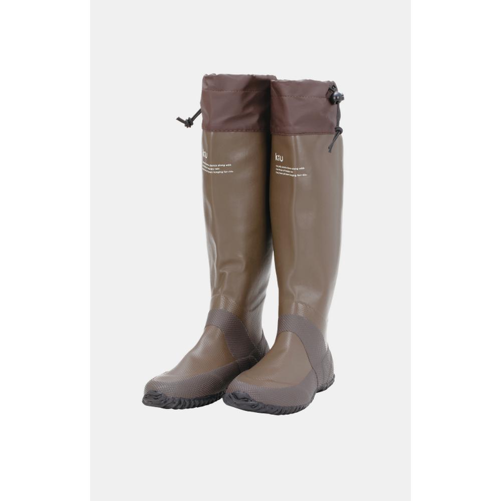日本KIU 35br 咖啡色 可折疊百搭雨鞋/文青風氣質雨靴 附收納袋(男女適用)