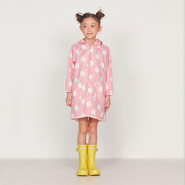 日本WPC 粉紅月L 空氣感兒童雨衣/防水外套 附收納袋(120-140cm)