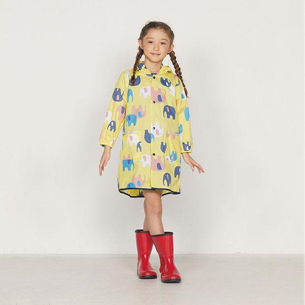日本WPC 頑皮象L 空氣感兒童雨衣/防水外套 附收納袋(120-140cm)
