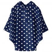 日本KIU 30028S 藍底白點 空氣感兒童雨衣/披風式/寶寶雨披/防水披肩/斗篷 附收納袋(80cm+)