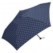 日本KIU 空氣感90g摺疊抗UV晴雨傘 34019 藍底白點