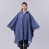 日本KIU 64028 藍底白點 空氣感雨衣/親子雨披/防水斗篷 騎車露營必備 附收納袋(男女適用)