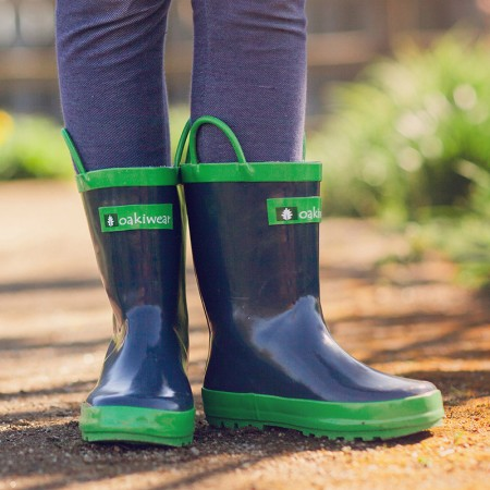 【美國OAKI】兒童提把雨鞋 11510 藍莓色