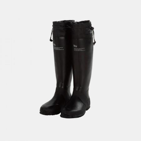 日本KIU 35bk 黑色 可折疊百搭雨鞋/文青風氣質雨靴 附收納袋(男女適用)