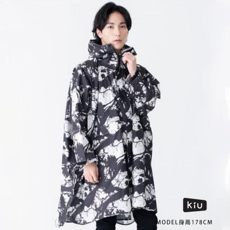 日本KIU 163191 墨跡 標準成人空氣感有袖斗篷雨衣 騎車露營必備 附收納袋(男女適用)