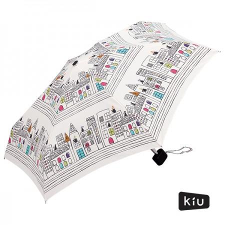 日本KIU 輕巧摺疊抗UV晴雨傘 31011 貓與城市
