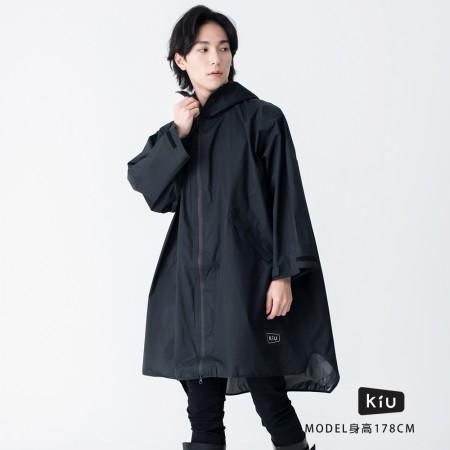 日本KIU 77182 Just Get Wet!! 黑 空氣感長袖雨衣/防水風衣 都會通勤必備 附收納袋(男女適用)