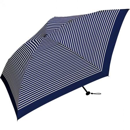 日本KIU  Air-Light Large 48035 藍白條紋 空氣感 130g 摺疊/抗UV晴雨傘