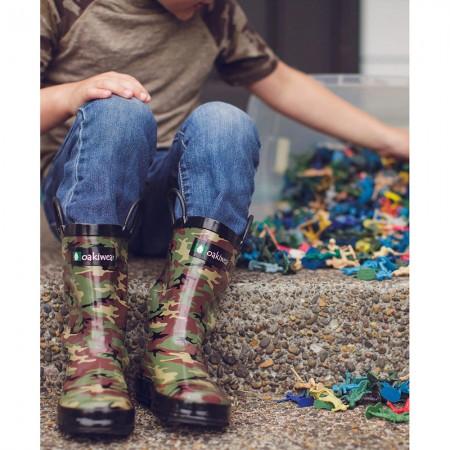 【美國OAKI】兒童提把雨鞋 11575 綠迷彩
