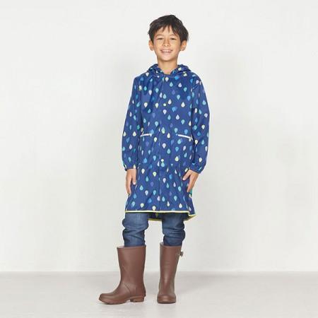 日本WPC 藍雨滴L 空氣感兒童雨衣/防水外套 附收納袋(120-140cm)