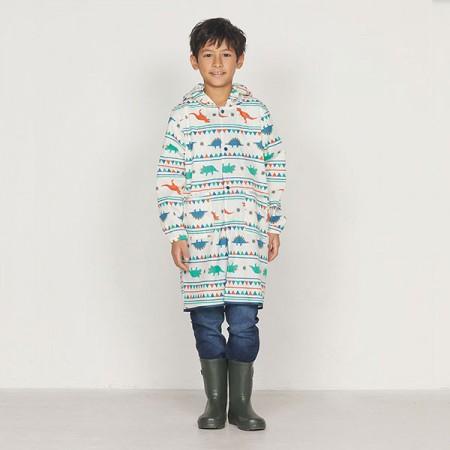 日本WPC 白堊紀恐龍M 空氣感兒童雨衣/防水外套 附收納袋(95-120cm)