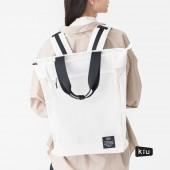 日本 KiU 112908 白色 側背後背2用大容量托特包: 一包變兩包,內袋可抽出,變防水購物袋