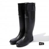 日本KIU 185900 黑色 二代可折疊百搭雨鞋/文青風氣質雨靴 附收納袋(男女適用)-3L