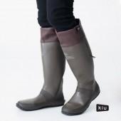 日本KIU 185912 咖啡色 二代可折疊百搭雨鞋/文青風氣質雨靴 附收納袋(男女適用)-S
