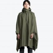 日本KIU 203246 夜光格紋-軍綠 機車/自行車雨衣斗篷 附收納袋(男女適用)