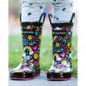 【美國OAKI】兒童提把雨鞋 115105 愛 和平 彩虹